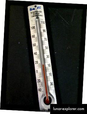 Un termometro analogico.