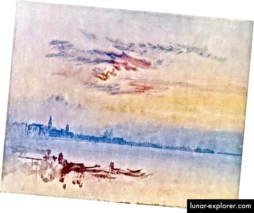 JMW Търнър: Венеция: Поглед на изток към Сан Пиетро ди Кастело - Ранно утро. Образът е любезен на вкуса.