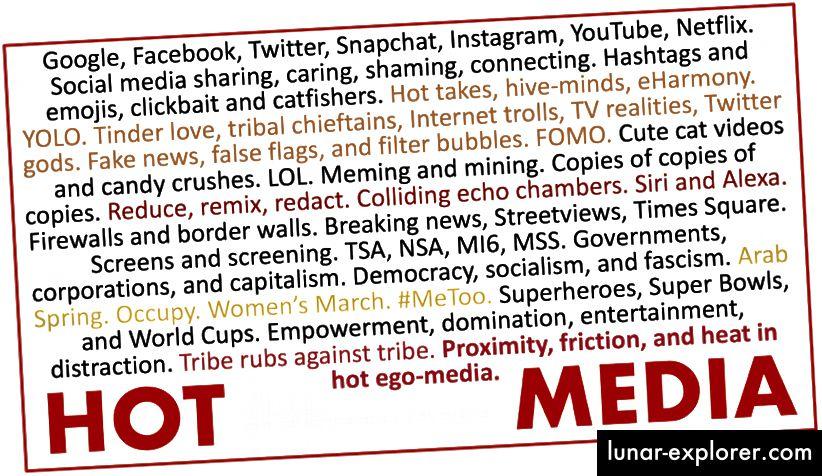 Échantillons de messages de médias chauds et ego-médias.