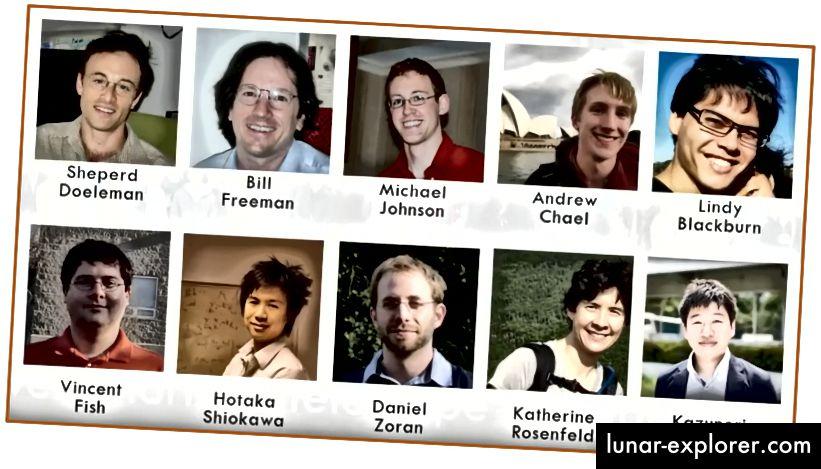 Младежкият екип, който работи с Кейти, за да изобрази черната дупка; изображение от разговорите на TEDx за 2017 г. на Bouman