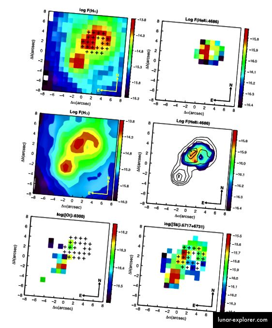 Slika 2, Kehrig i sur. 2015. Područje visoke emisije Hα i He II λ4686 pokazuje malo preklapanje s [OI] λ6300 emisijom i niskim [S II] kontrastom, što isključuje mogućnost rendgenskih udara.
