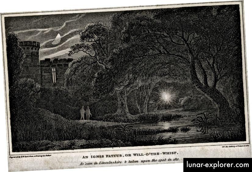Il metano (CH4) chiamato anche Marsh Gas o Ignis Fatuus, provocando una luce danzante in un terreno paludoso noto come Will-o-the-Wisp o Jack-o-Lantern. Osservato nel 1811. Illustrazione: Universal History Archive / UIG via Getty Images