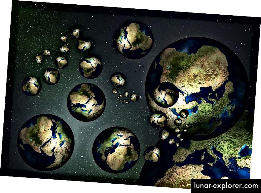 """Representasi dari """"dunia"""" paralel yang berbeda yang mungkin ada di kantong lain multiverse.PUBLIC DOMAIN"""