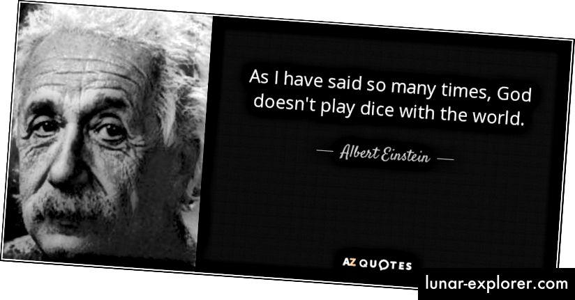 لم يعجب أينشتاين بهذا على الإطلاق ، ومن هنا اقتباسه الشهير.