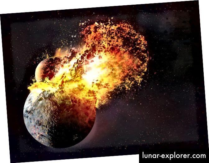 Eine Theorie über die Entstehung des Mondes legt nahe, dass dies durch Material geschehen ist, das nach einer Planetenkollision von der Erde geworfen wurde. Neue Forschungsergebnisse deuten jedoch darauf hin, dass die Auswirkungen möglicherweise auch die Erde mit den notwendigen Elementen für das Leben besiedelt haben (National Geographic).