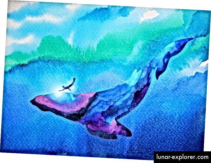 """Benjavisa """"Inimese ja vaala sukeldujad koos vee all ujumas"""""""