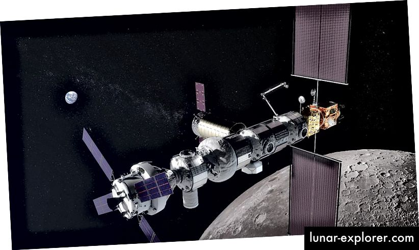 Concept art di Lunar Gateway. Fonte: NASA