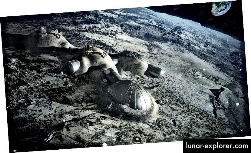 ESA-Konzept für Mondbasen, die durch eine Schutzhülle aus Regolith vor Strahlung geschützt sind. Quelle: Europäische Weltraumorganisation (gemeinsam genutzt unter CC BY-SA 4.0)
