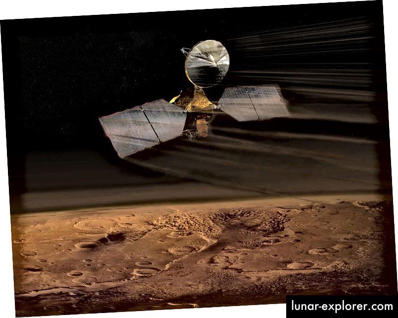 A művész benyomása a Mars Reconnaissance Orbiter aerobrackingról. Forrás: NASA