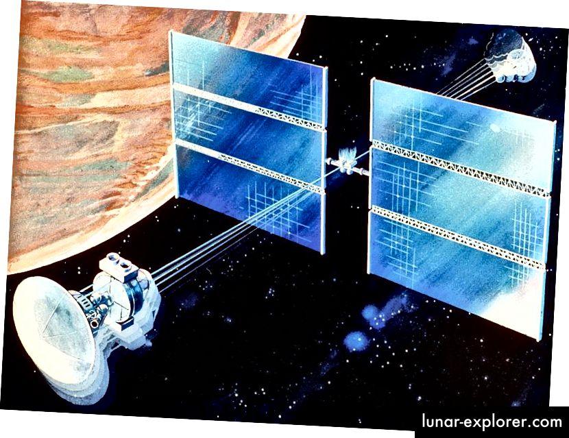 Ein Konzept für ein Mars-Raumschiff, das sich dreht, um seine Besatzung mit künstlicher Schwerkraft zu versorgen. Quelle: NASA