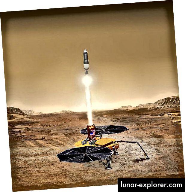 Eine künstlerische Darstellung eines Mars-Musterfahrzeugs, das zur Erde zurückkehrt. Quelle: NASA