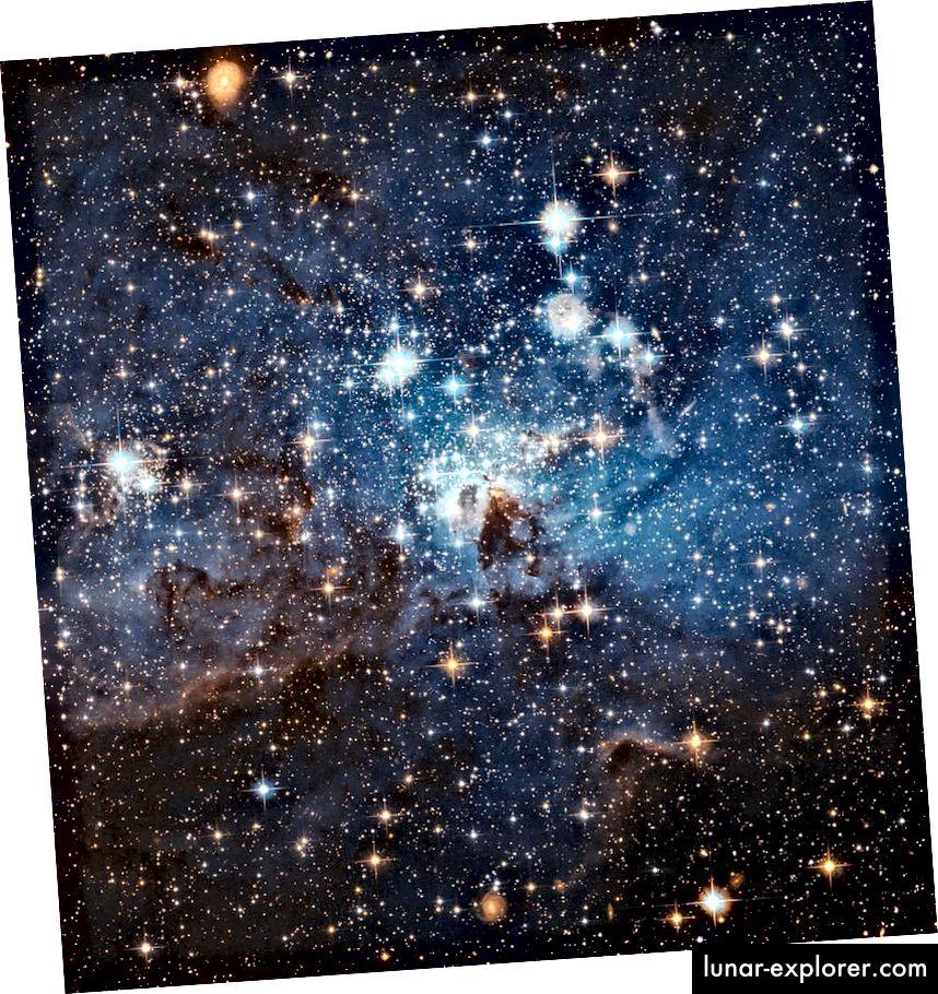 Une pépinière stellaire dans le grand nuage de Magellan, une galaxie satellite de la voie lactée. Ce nouveau signe proche de formation d'étoiles peut sembler omniprésent, mais le taux de formation de nouvelles étoiles dans l'ensemble de l'Univers n'est que de quelques pour cent de ce qu'il était à son point culminant (NASA, ESA ET HUBBLE). ÉQUIPE DU PATRIMOINE (STSCI / AURA) - COLLABORATION ESA / HUBBLE)