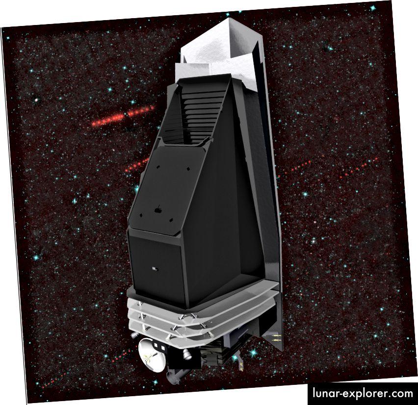 Това е изображение на предложената мисия за околоземна обектна камера (NEOCam), която е предназначена да открива, проследява и характеризира астероиди и комети, приближаващи се към Земята. Използвайки термична инфрачервена камера, мисията ще измерва топлинните сигнатури на NEO, независимо дали са светли или тъмни. Корпусът на телескопа е боядисан в черен цвят за ефективно излъчване на собствената топлина в космоса, а слънчевият му щит му позволява да наблюдава близо до Слънцето, където НЕО в най-подобни на Земята орбити прекарват голяма част от времето си. На заден план е набор от изображения на главни астероиди на колана, събрани от мисията прототип NEOWISE; астероидите се появяват като червени точки на фона на звезди и галактики. (НАСА)