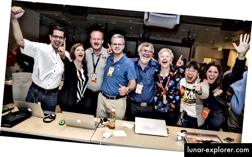 Gli ambienti di lavoro sani in cui persone di tutte le razze, generi e religioni possono lavorare insieme in modo produttivo e senza bullismo o molestie comportano comportamenti che devono diventare la norma. Niente di meno dovrebbe essere inaccettabile. Qui, il Mars SAM Team celebra l'atterraggio perfetto del loro rover. (NASA)