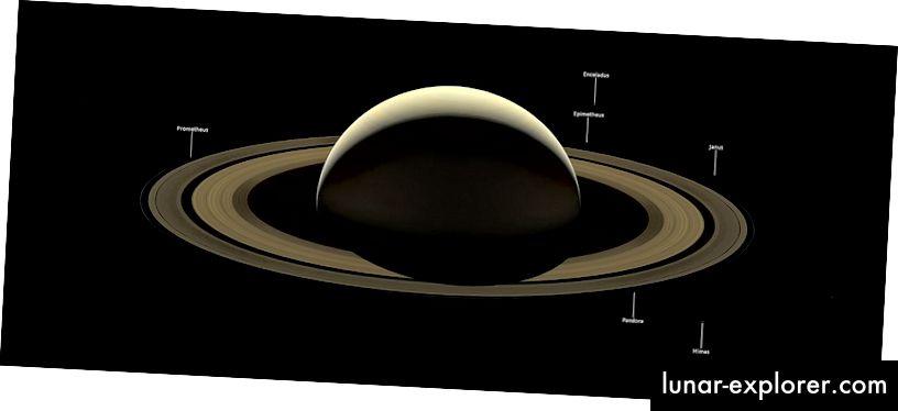 2017年に撮影されたカッシーニの土星の最終画像。いくつかの月にラベルが付けられていますが、非常に暗いです。画像クレジット:NASA / JPL-Caltech / Space Science Institute。