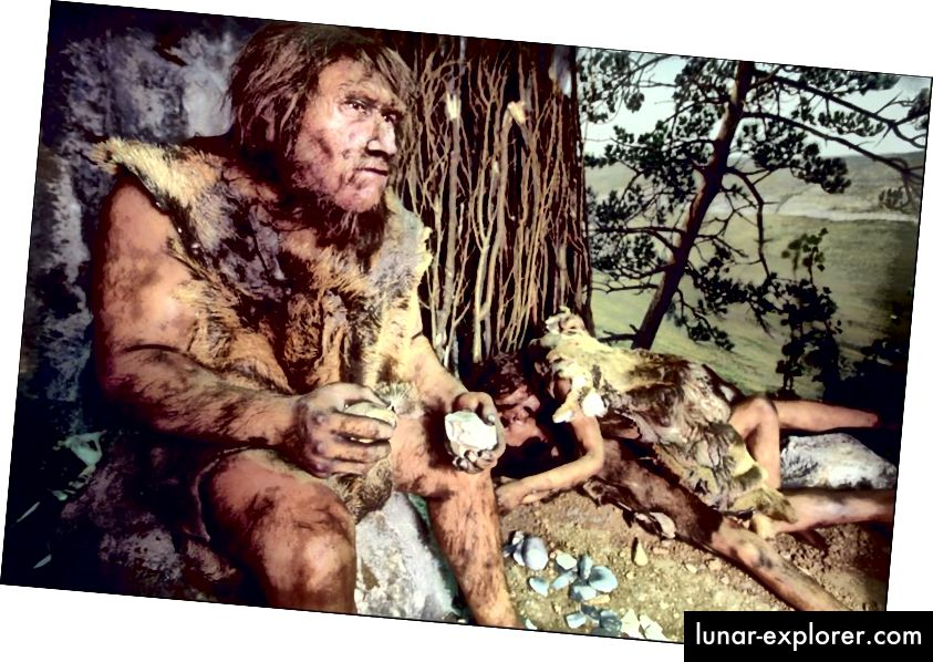 Kesk-paleoliitikumi perioodi keskkonna rekonstrueerimine pärineb umbes 80 000 aastat tagasi ja kujutab neandertaallasest meest, kes elab selles piirkonnas, mida arvatakse olevat selle aja tüüpiline eluruum. (Foto on Xavier ROSSI / Gamma-Rapho Getty Imagesi kaudu)