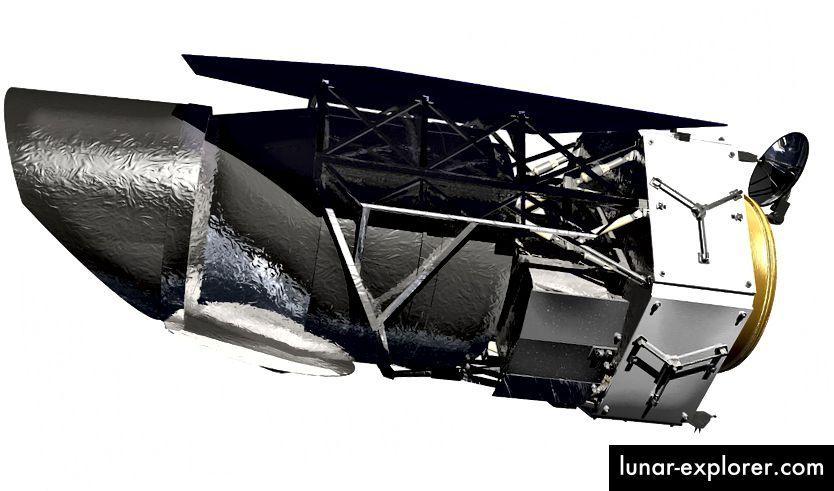 По-стара предложена версия на WFIRST от далечната 2019 г. Оттогава телескопът премина през няколко повторения, тъй като целите му за наука се промениха. Кредит за изображение: НАСА.