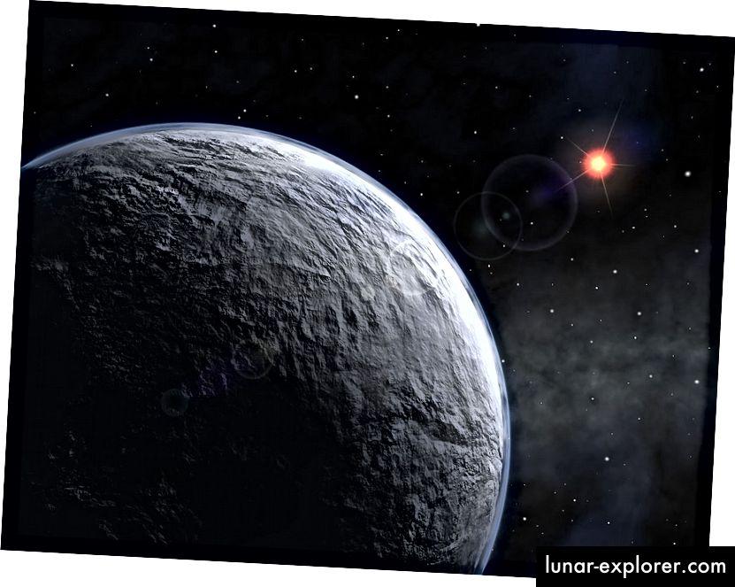 L'impressione di un artista di OGLE-2005-BLG-390Lb, un esopianeta scoperto nel 2005 mediante microlensing gravitazionale. Immagine di credito: ESO, sotto licenza Creative Commons Attribution 3.0 Unported.