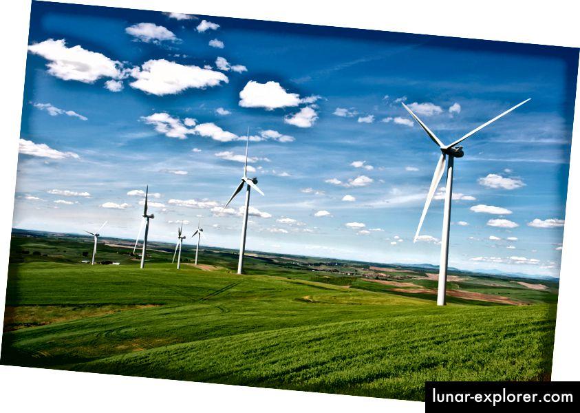 Il parco eolico di Rosalia vicino a Oaksdale nel Palouse, nello Stato di Washington. Foto: Wolfgang Kaehler / LightRocket via Getty Images