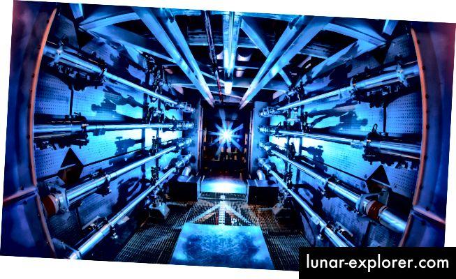 Strahlvorverstärker am NIF. Mit dem Lasersystem wurde eine Leistung von 500 Terawatt erzeugt, allerdings nur für einen winzigen Moment. Quelle: Wikimedia Commons
