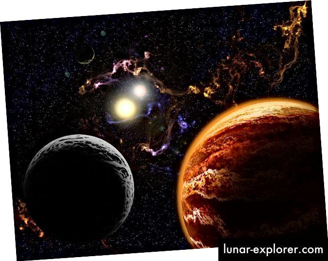 A bolygó és a hold egy bináris csillagrendszer körül egy ködben jelenik meg egy fiatal Naprendszer művészi koncepciójában. Kép jóváírása: Matt Hendrick / Flickr