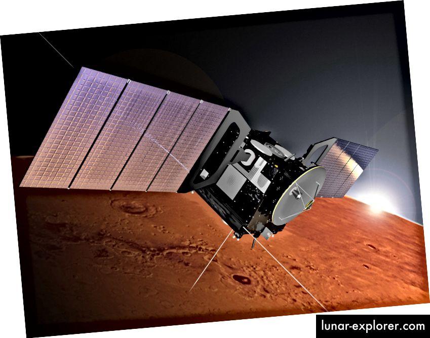 Impressione dell'artista della sonda MARSIS - utilizzata nella nuova ricerca (ESA)