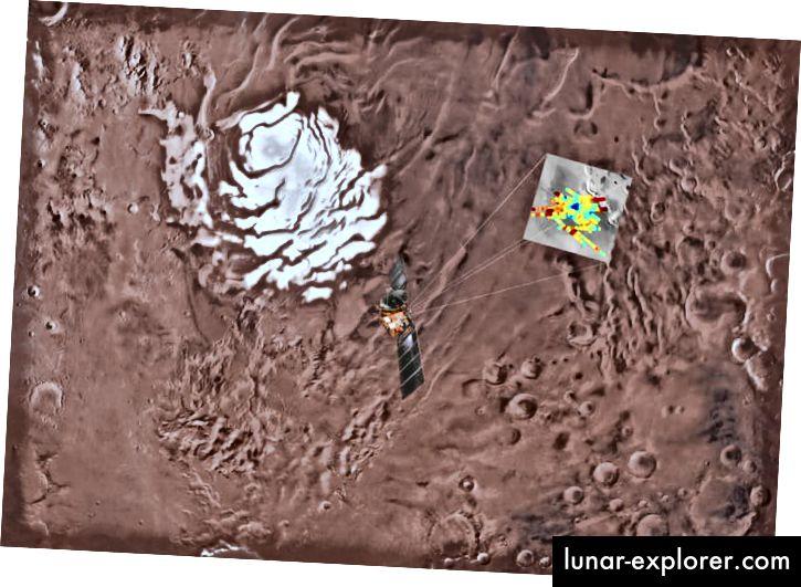 2018 - Orbita espressa di Marte che sorvola il polo sud di Marte. I segnali radar sono codificati a colori e il blu profondo corrisponde ai riflessi più forti, che vengono interpretati come causati dalla presenza di acqua. (Scienza)