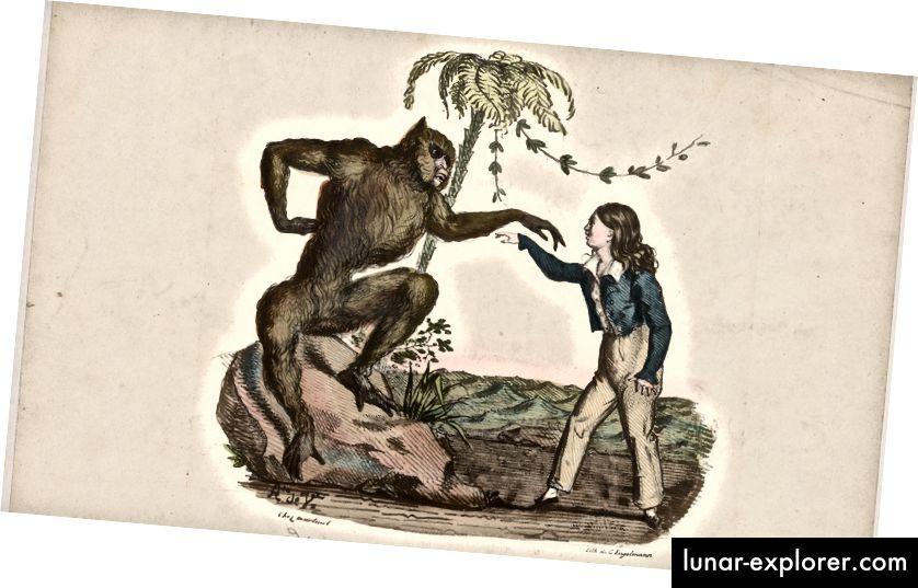 'Rôle de Joko' oleh Charles Mazurier, c. 1826, melalui Perpustakaan Umum New York, Divisi Tari Jerome Robbins