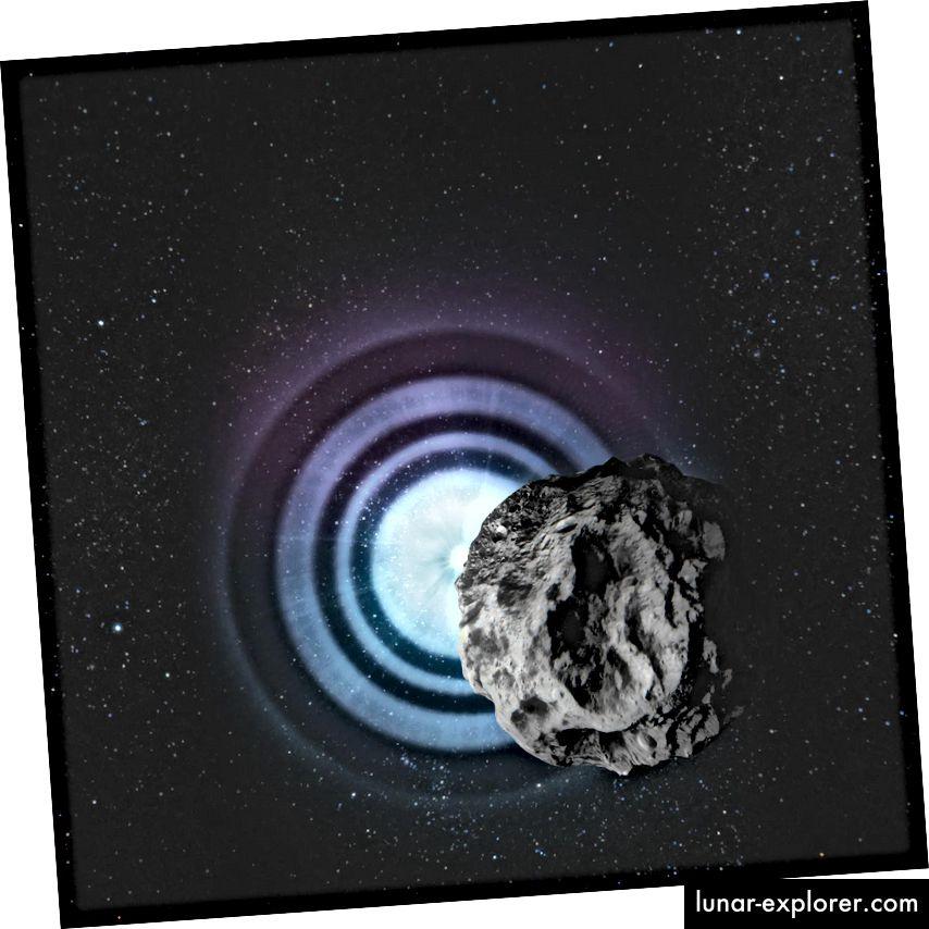 Ketika asteroid lewat di depan bintang, pola difraksi yang dihasilkan (di sini sangat dilebih-lebihkan) dapat mengungkapkan ukuran sudut bintang (DESY, Lucid Berlin)