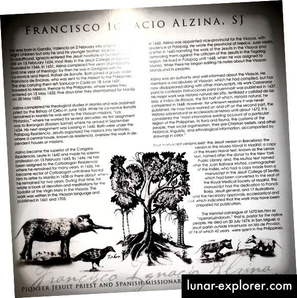 Karya Alzina yang paling terkenal adalah mendokumentasikan tradisi kuno Visayans, termasuk bahasa, seni, dan sains mereka.