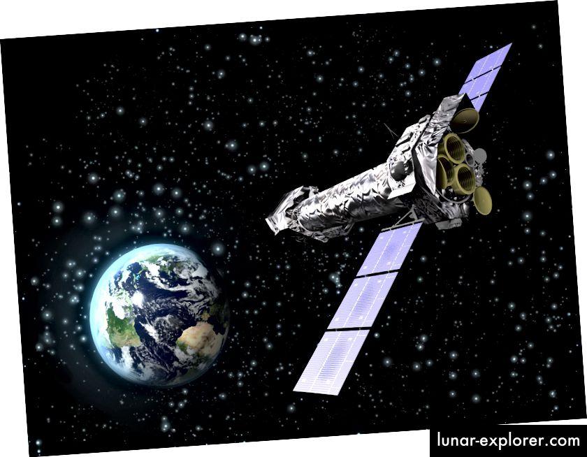 Künstlerische Darstellung des XMM-Newton-Röntgenteleskops (ESA)