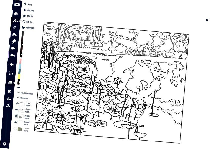Perhatikan bahwa jumlah detailnya tetap sama, tetapi lebih tipis dan lebih kecil. Foto asli diambil di Meadowlark Gardens di Virginia.