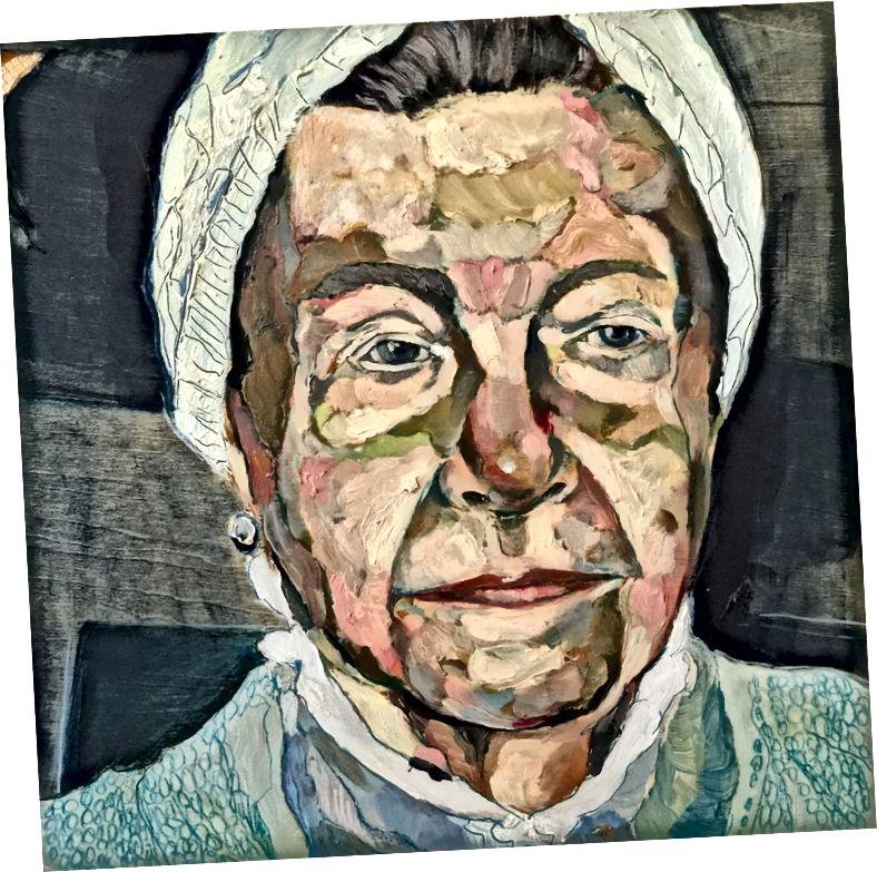 جونا بارنز ، 1892–1982. ألوان زيتية على لوح خشب البتولا ، 12 × 12 بوصة ، 2015 | Simone de Beauvoir 1908–1986. زيت على لوحة خشب البتولا ، 10 × 10 بوصة ، 2015