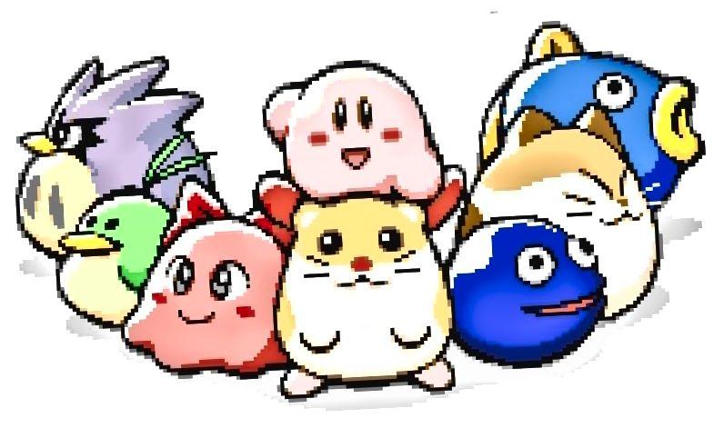 Na obrázku nahoře: Kirby a sedm jeho nejbližších přátel, z nichž žádný není uveden v Squeak Squad.