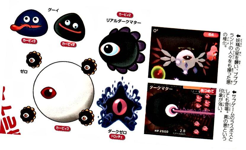 The Invaders Dark Matter z japonské exkluzivní knihy Kirby Art. Všimněte si, že temná mlhovina / tmavá nula od Squeak Squad je považována za součást rodiny.