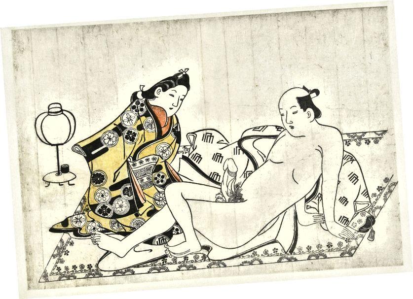 «Երիտասարդ կին և մերկ տղամարդը գորգով», - ասում է Հիշիկավա Մորոնոբուն: Վիքիմեդիայի միջոցով