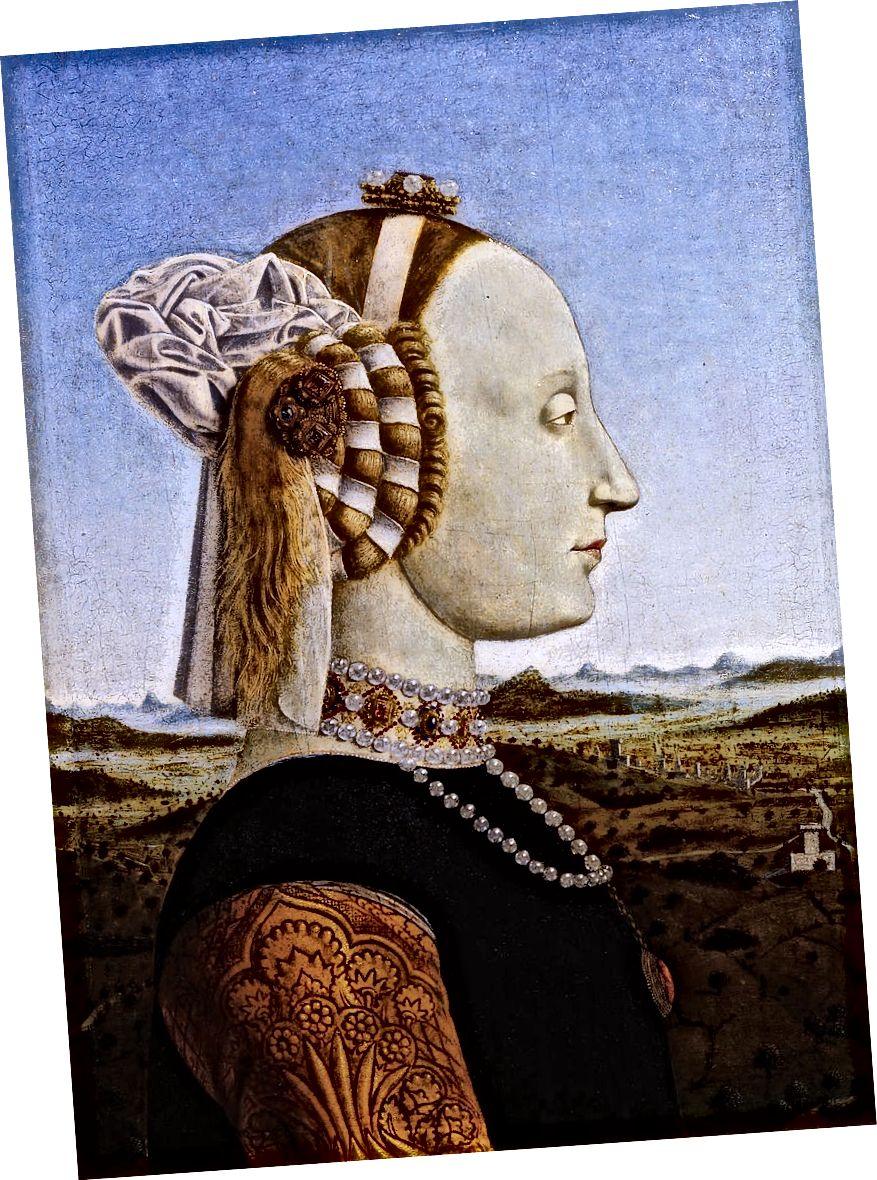 Porträt von Battista Sforza, Herzogin von Urbino (1472–1473) von Piero della Francesca