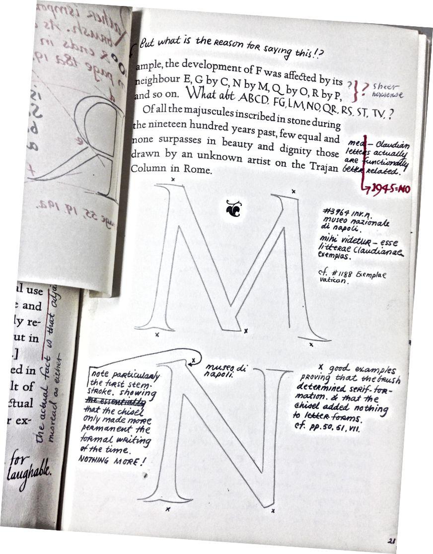 Buku catatan Ed Catich untuk 'Origin of the Serif,' ditulis di tepi Goudy's 'Capitals from the Trajan Column at Rome' sebagai serangkaian sanggahan. Perguruan Tinggi Saint Ambrose, Davenport, IA