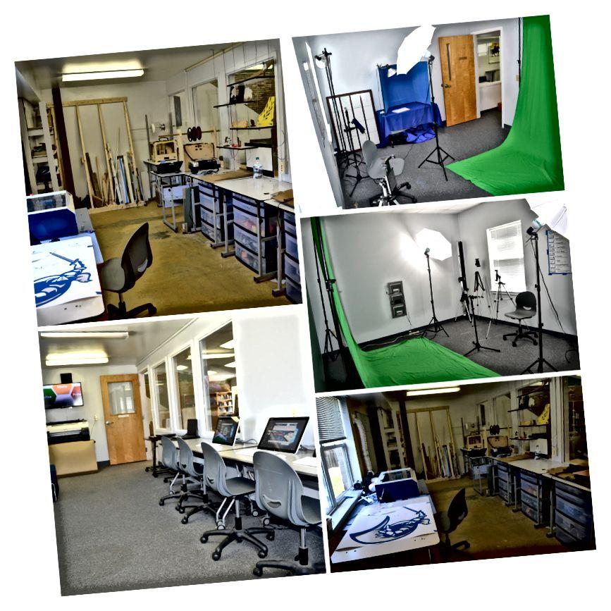 İki kompüter laboratoriyası və bir kopiya otağı Makerspace və Dizayn Studiyası halına gəldi.
