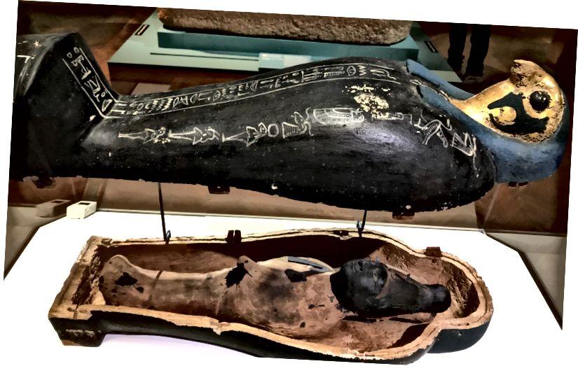 """Ozirisova """"kukuruzna mumija"""" na Minneapolis Institute of Art, izrađena od zemlje i sjemena da bi predstavljala uskrslog boga u drevnim egipatskim ritualima """"Ozirisova misterija"""". Izložen je u lijesu sa sokolom."""