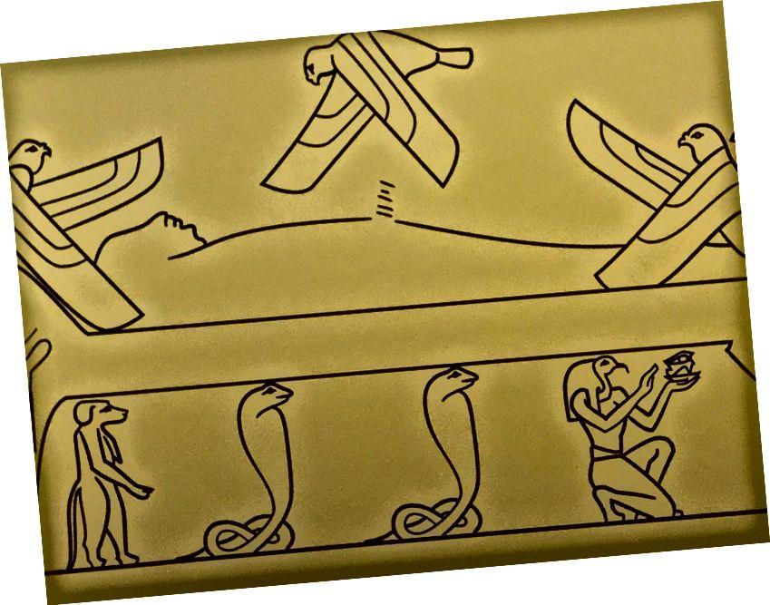 """Minneapolise Kunstiinstituudi näitusel """"Egiptuse uppunud linnad"""" tehtud joonistus, millel on rida read, kus Osirise fallos peaks olema."""