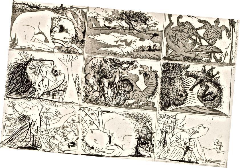 """""""Мечтата и лъжата на Франко"""" на Пикасо, отпечатана през януари 1937 г., за да събере пари за испанското републиканско правителство. В тази сюрреалистична сатира на Франко, диктаторът е изобразен като чудовище, изместващо формата. По-късните допълнения към отпечатъците, видени тук, предвещават скърбящите фигури в Герника. (Честна употреба)"""