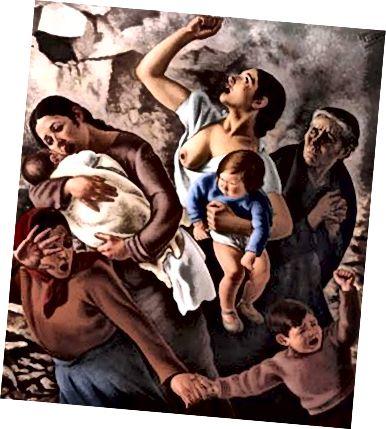 Мадридът от 1937 г. (Черни самолети) на Ферер де Моргадо също беше изложен и предпочитан от правителствените служители заради по-реалистичното му изобразяване на цивилни жертви на Гражданската война. (Честна употреба. Източник: Wikipedia)