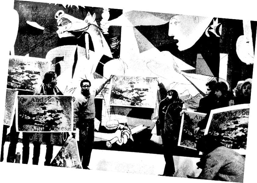 """Членовете на коалицията """"Работници на изкуството"""" протестират пред Герника, като показват изображения на жени и деца, избити от американските войски във Виетнам (Източник: Wikipedia)"""