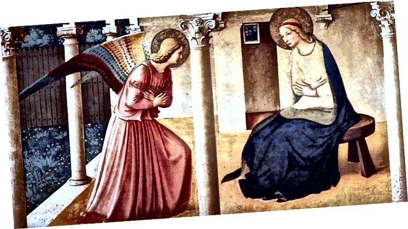 Fra Angelico: Благовещението (подробно) 1434–46, чрез Wikimedia Commons