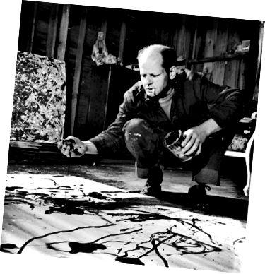 Джексон Поллок в своей студии на восточном конце длинного острова. ФОТО МАРТЫ ХОЛМС / КОЛЛЕКЦИЯ ЖИЗНЕННЫХ ИЗОБРАЖЕНИЙ / GETTY IMAGES