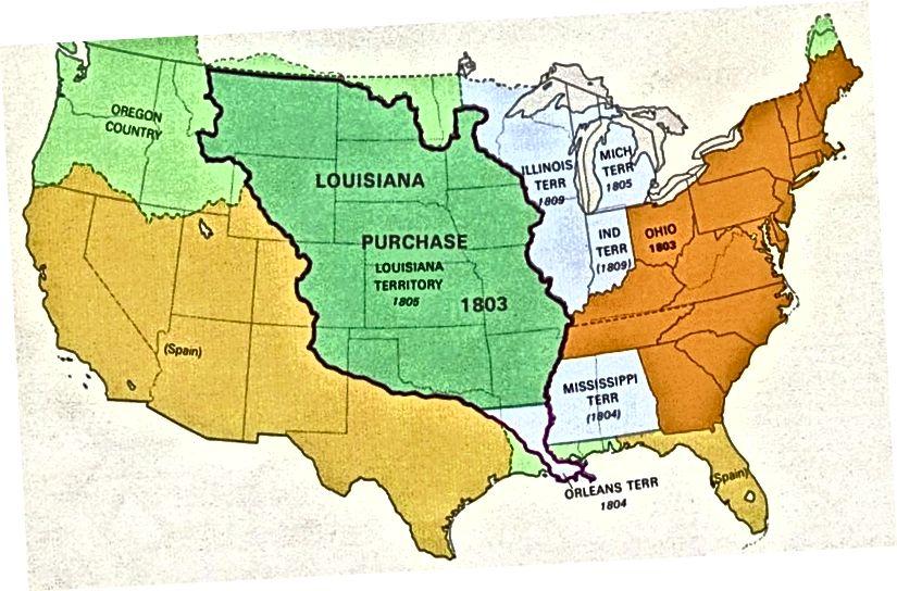 Քարտեզ, որը ցույց է տալիս Լուիզիանայի 1803 գնման չափը: Աղբյուր