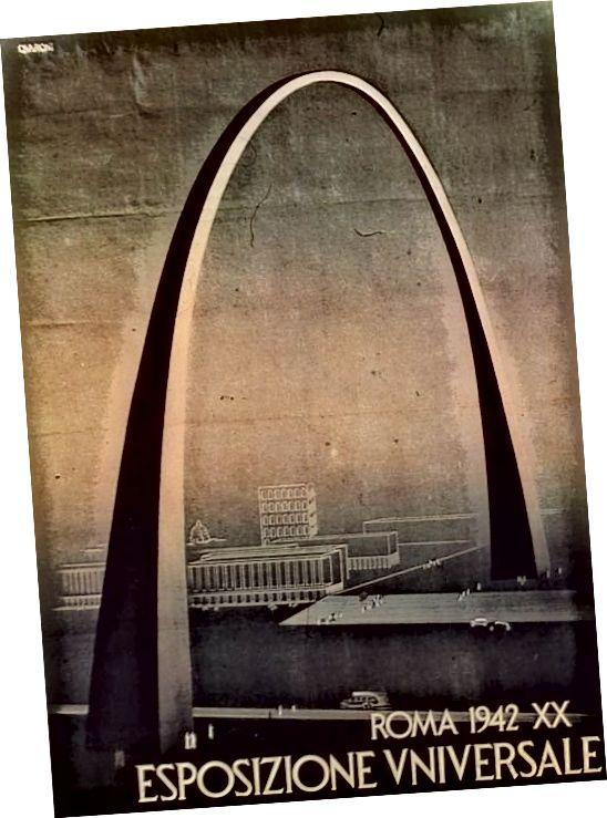 Համաշխարհային տոնավաճառին (Հռոմ, 1942) առաջարկեց «Կայսրության կամար» ՝ Բենիտո Մուսոլինիի օրոք տոնելու ֆաշիզմի 20 տարիները:
