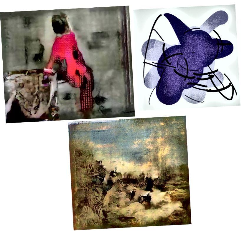 Վերևի ձախից `սլաքի ուղղությամբ (Նկար 3) Արվեստի գործեր ՝ ԱԻ Նկարիչների Մարիո Կլինգեման, Թոմ Ուայթ Ուայթ և Մեմո Աքթեն