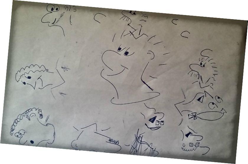 Moje první kresby při sledování Grahama Shawa